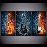 Modern Contemporary Burning Fire Guitar Painting on Canvas 3 Piece Framed Posters and Prints Wall Art for Living Room Home Decor Gallery-wrapped Artwork Ready to Hang (48''W x 24''H )