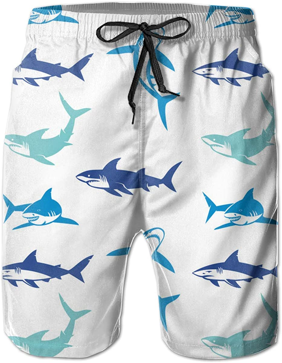 AP.Room Men Ocean Animal Shark Fashion Beach Board Shorts Quick Dry Swim Trunks Lining and Pockets