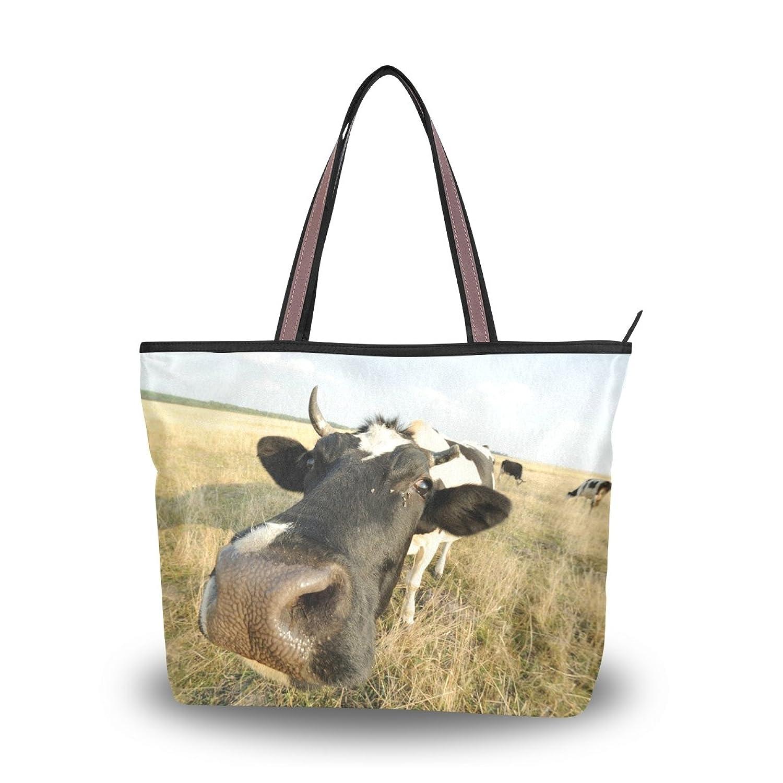 Senya Women's Handbag Microfiber Large Tote Shoulder Bag, Cute Cow