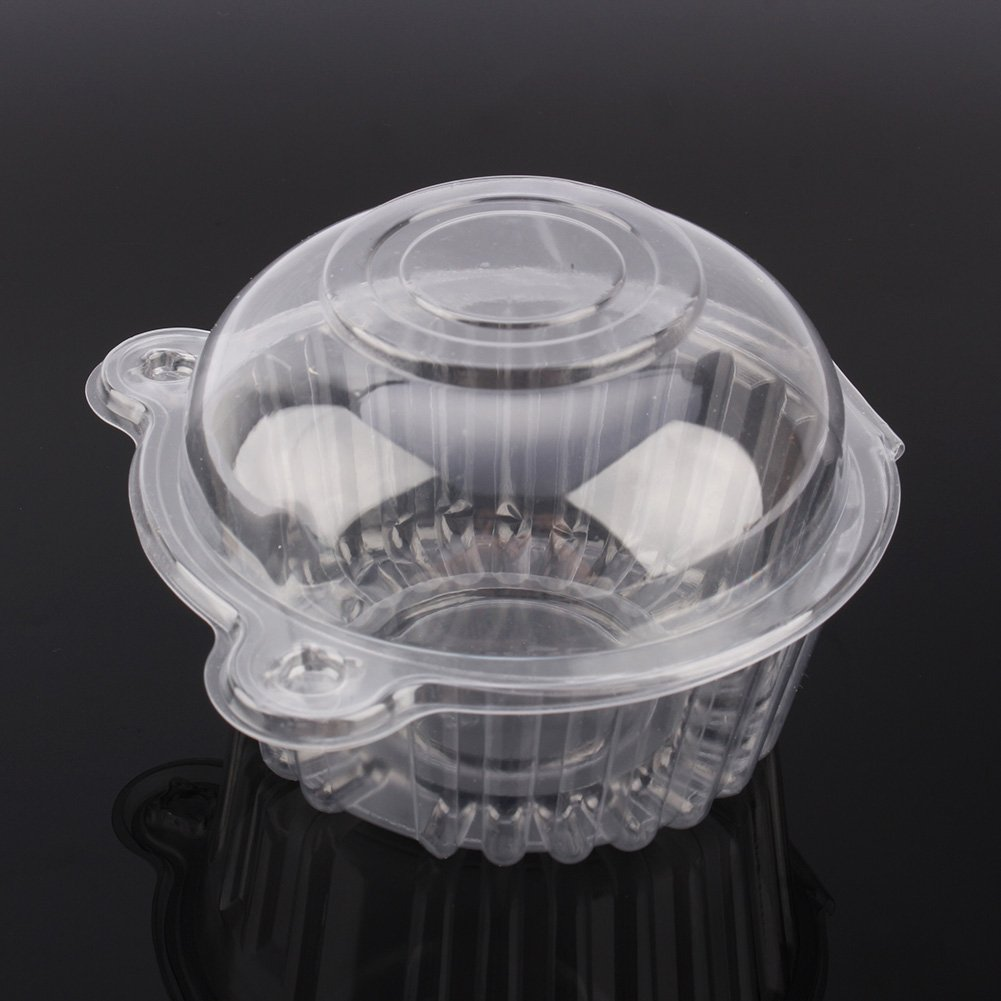 100 Piezas Desechable Caja de Pl/ástico Cupcakes Transparente C/úpula Holder con Tapa para Magdalenas Galletas