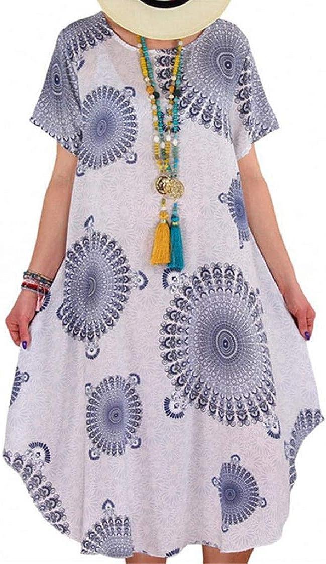 MISYAA Womens Plus Size Midi Dresses Tie-Dye Gradient Short Sleeve Knee Length Casual Dress Beach Sundress Boho Paisley S-5XL