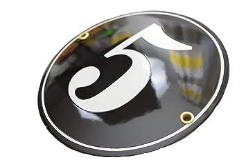 Hausnummer Hausnummernschild Emaille 12x12 cm mit Wunschnummer Premiumqualit/ät