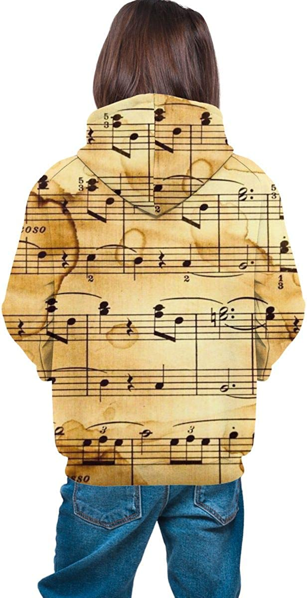 Kjiurhfyheuij Teen Pullover Hoodies with Pocket Music Notes Soft Fleece Hooded Sweatshirt for Youth Teens Kids Boys Girls