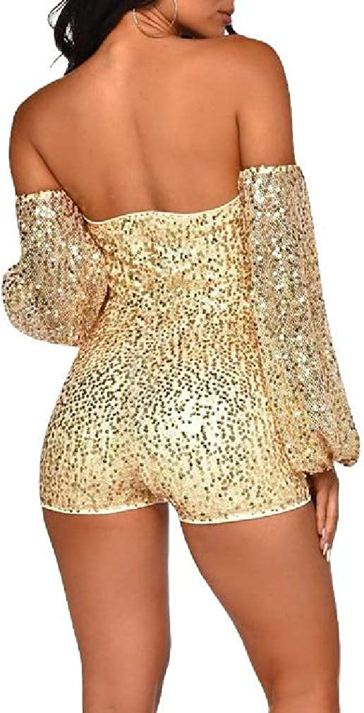 Doufine Womens Off-Shoulder Sequin Glitter Wrap Chest Long-Sleeve Playsuit Shorts Rompers