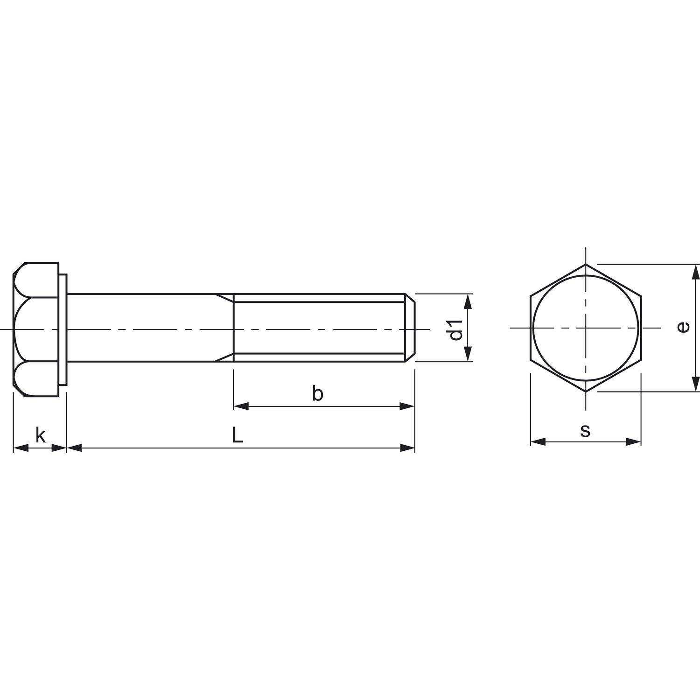 25/unidades secotec/ 425779 /con v/ástago hexagonal din931/M8/x 140/galvanizado de azul KP de 25