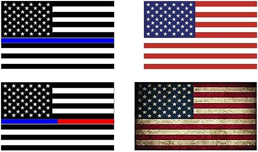 4pcs finefun delgada línea azul bandera de Estados Unidos de vinilo adhesivo decorativo, diseño de bandera, de América, rústico americano bandera de vinilo, negro, gris, rojo y azul para oficina, coches: Amazon.es: