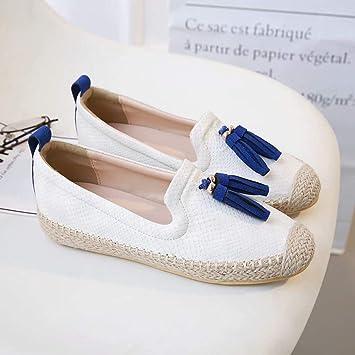 Zapatos De Pescador con Flecos Blancos Zapatos Casuales De Verano para Mujer CóModos Mocasines De Mimbre