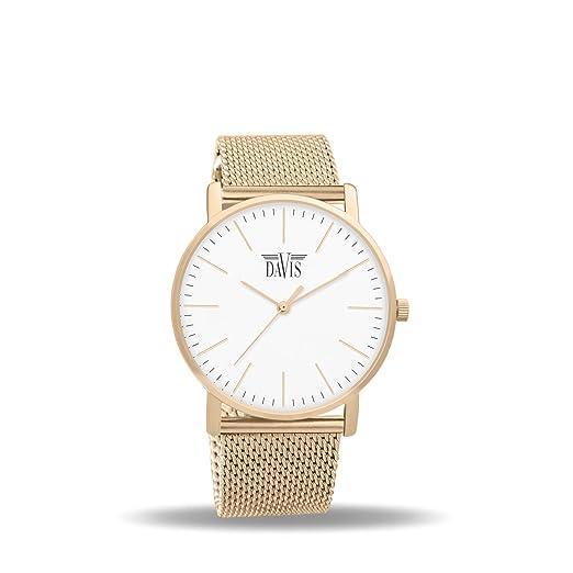 Davis 2052 - Reloj Diseño Mujer Acero oro Rosa Cuadrante Extra plano Esfera Blanco Correa Mesh Malla Milanese: Davis: Amazon.es: Relojes