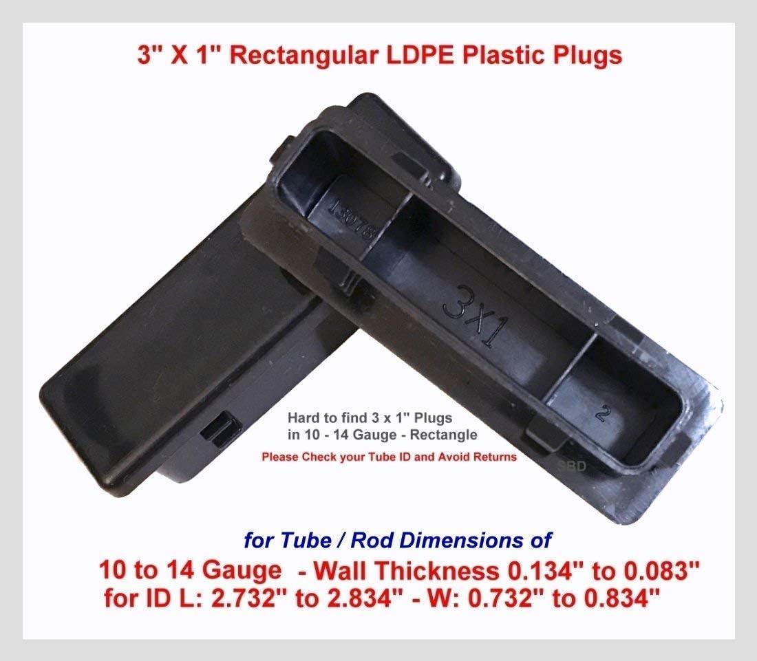 "4 Pack 1/"" x 2/"" Inch Rectangular Ribbed Tubing Plug Insert Glide End Caps"