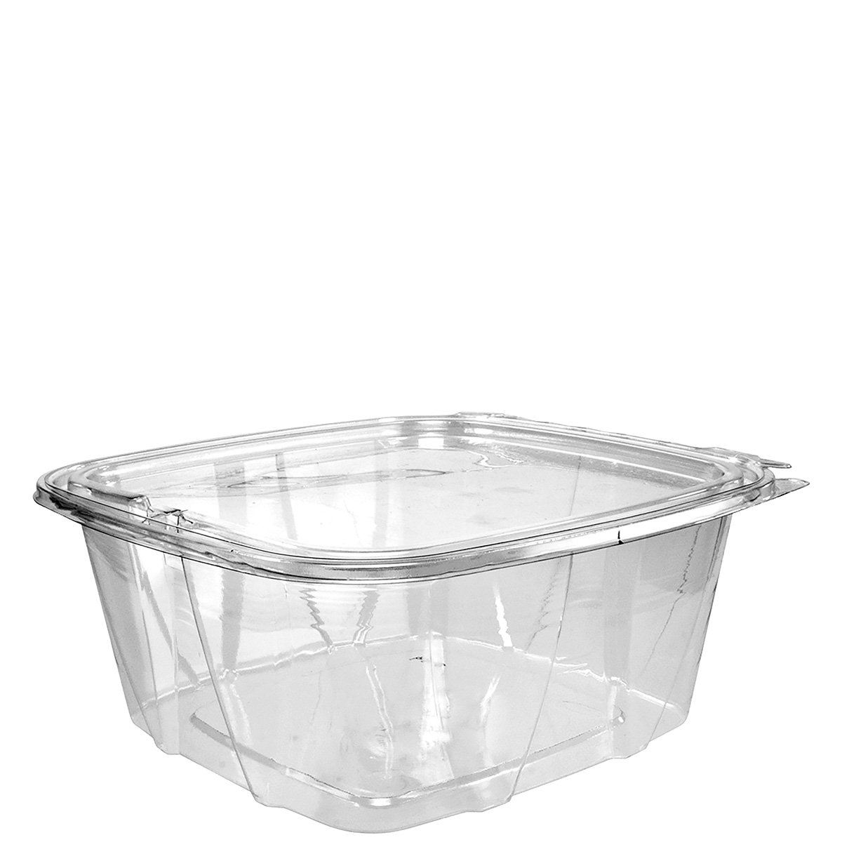 Dart CH64DEF 64 oz Tamper-Resistant Clear Hinged Container with Flat Lid (Case of 200) by Dart Solo