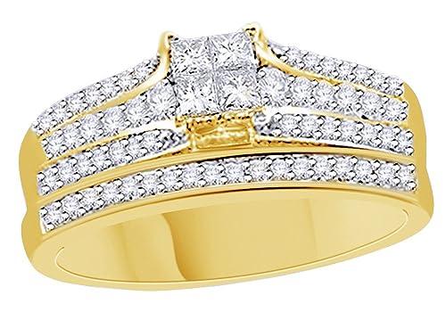 AFFY Princesa & redondo corte cúbico zirconia novia conjunto anillo de boda en plata de ley chapada en oro de 18 quilates (0,70 quilates): Amazon.es: ...
