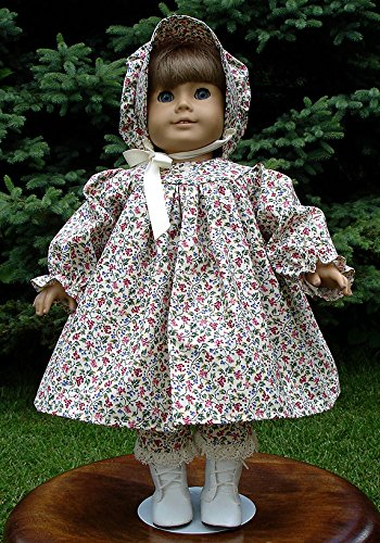 Red and Blue Calico Prairie Dress handmade by Jane Ellen to fit 18 inch dolls 18 Inch Doll Clothes