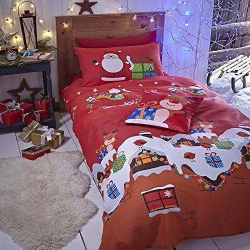 Santa Claus Christmas Presents Kids Boys Girls Duvet Quilt Cover Bedding Set - UK Single / US Twin