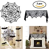1 Pcs 40-Inch Black Spider Halloween Lace Table Topper Cloth And 1 Pcs Black Lace Spiderweb Fireplace Mantle Scarf Cover For Halloween Decoration 18 x 96 inch,(2 Pack) Aunifun