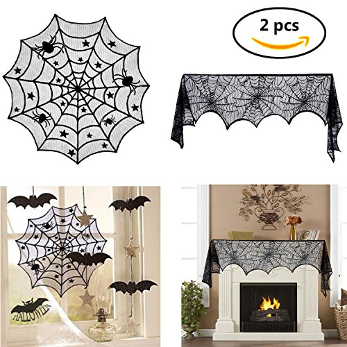 1 Pcs 40-Inch Black Spider Halloween Lace Table Topper Cloth And 1 Pcs Black Lace Spiderweb Fireplace Mantle Scarf Cover For Halloween Decoration 18 x 96 inch,(2 Pack) Aunifun by Aunifun