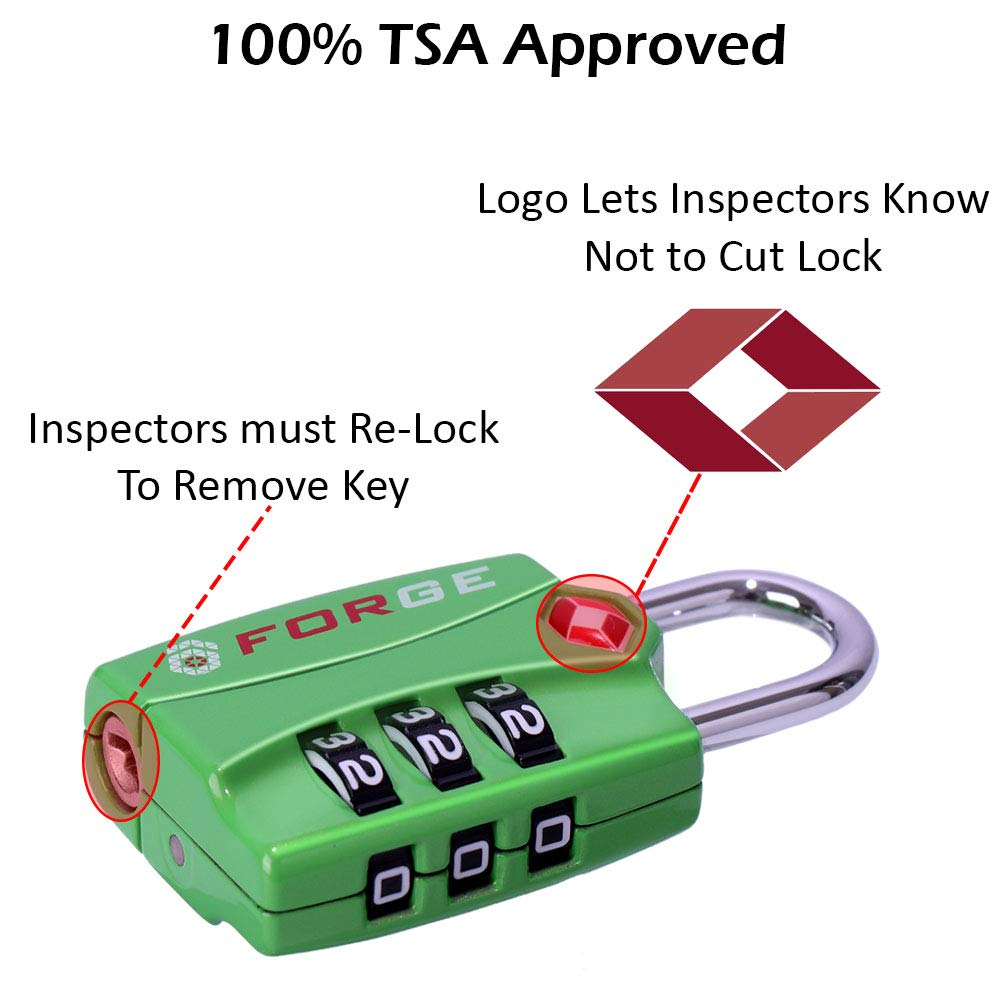 Forge TSA Locks 4 Pack Green - Open Alert Indicator, Easy