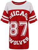 NEW WOMENS AMERICAN JERSEY FOOTBALL TOP 87 CHICAGO WOLVES PRINT VARSITY COLLEGE T SHIRT 8-14 (S/M (UK 8-10), RED (MAIN))