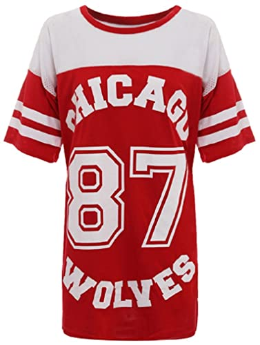Ladies Chicago 87Lobos largo malla extragrande Baggy de béisbol Varsity–Camiseta Top