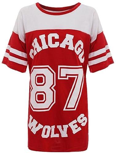 Ladies Chicago 87Lobos largo malla extragrande Baggy de béisbol Varsity–Camiseta Top