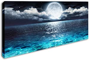 Sea Canvas Wall Art Blue Clear Ocean Seascape Giclee Artwork Full Moon in Cloud Landscape Framed Picture Canvas Prints for Living Room Decor - 24x48 Inch