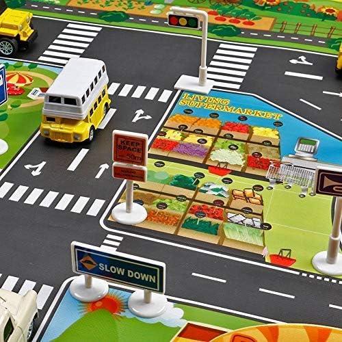 Niños Jugar Ciudad Escena Alfombra, Bebé Aprendizaje Decoración Tapete con Carretera Tráfico Bebés Educativo Coche Alfombra con Ciudad Ciudad Mapa 130cm x 100cm: Amazon.es: Hogar