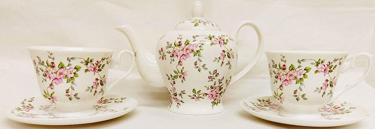 fromeuropewithlove Pink Wild Roses Tea Set for Two Fine Bone China Pink Roses 1 Teapot 2 Cups & 2 Saucers Hand Decorated in UK Rainbow Decors Ltd.