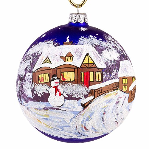 Snowman by the Bridge Christmas Ball Ornament - Glass Christmas Tree Decorations