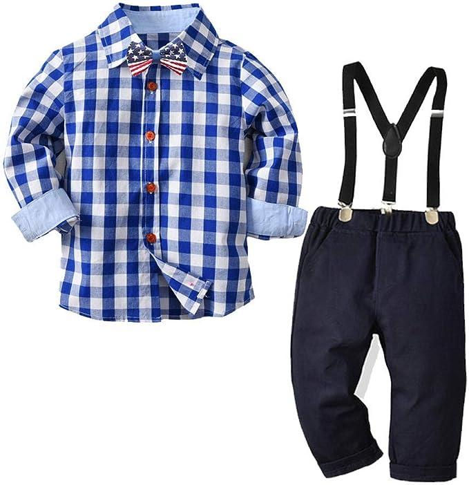 Conjunto de ropa para bebé, camisa a cuadros, pantalón de cuadros, traje de hombre, niño y otoño como en la imagen 80 cm: Amazon.es: Ropa y accesorios