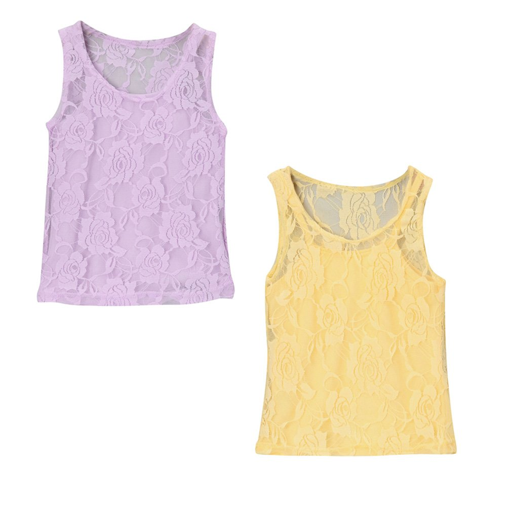 Girls Lace Tank & Camisole 2-Pack Gift Set (Choose Color and Size) Lavender + Yellow)
