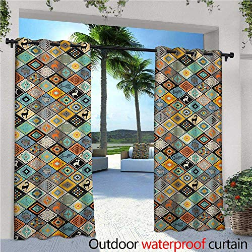 Silver Mosaic Show Quality (Tribal Indoor/Outdoor Single Panel print Window Curtain Ethnic Primitive Culture Composition with Different Motifs Elk and Bulls Folk Mosaic Silver Grommet Top Drape W120