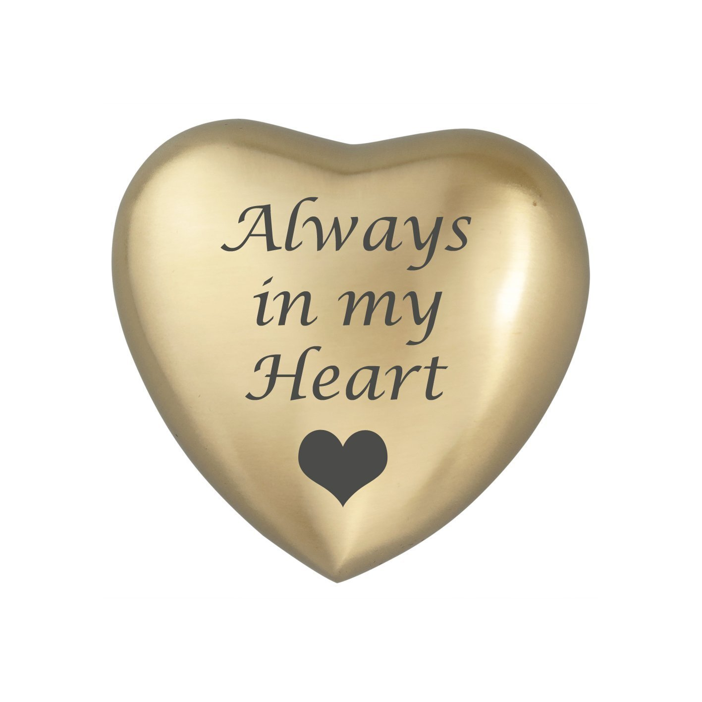 Always In My Heart Silver Heart Urn Keepsake for Ashes Cremation