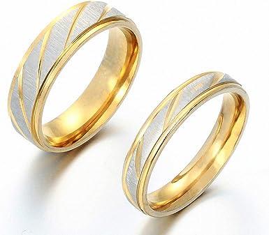 Amazon Com Wedding Ring Women Men Gold Stainless Steel Couple Ring Engagement Wedding Rings 4mm 6 Clothing
