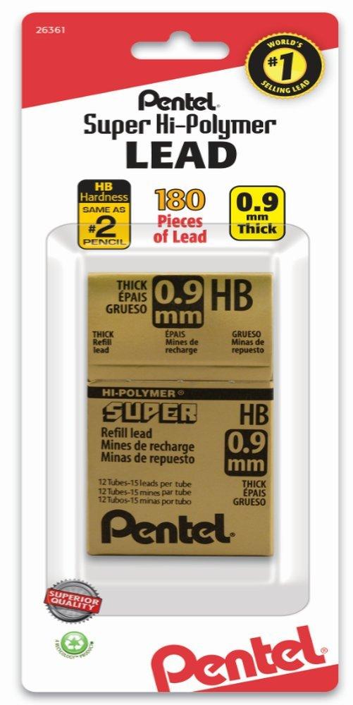 Pentel 180 Minas (12 Tubos) 0.9mm HB   (Q1WV)