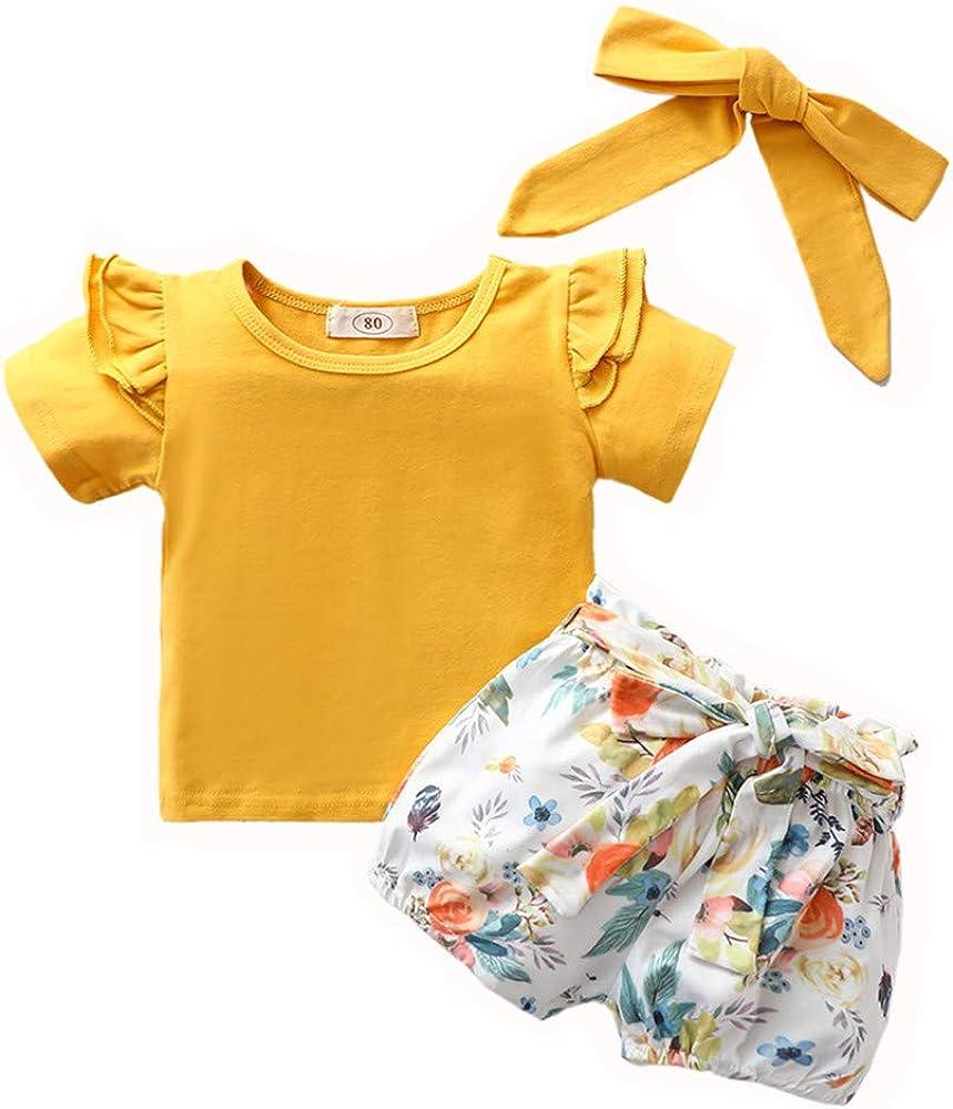 Toddler Baby Girls Short Sleeve Solid Shirt Tops+Shorts Headbands Outfits Set