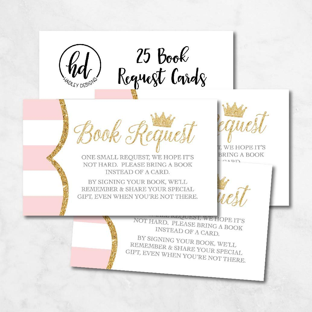 25 Princess Books For Baby Request Insert Card Girl Gold Shower Invitations Or Invites Pink