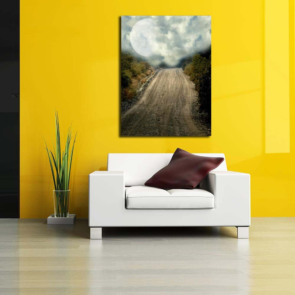 Pitaara Box Peaceful Path Unframed with Big Moon Unframed Path Canvas Painting 30 x 40inch 963cfe
