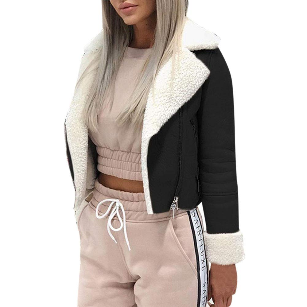 Quelife Women Lapel Suede Leather Buckle Cool Pilot Jacket Faux Lamb Wool Motorcycle Jackets (Black,M)