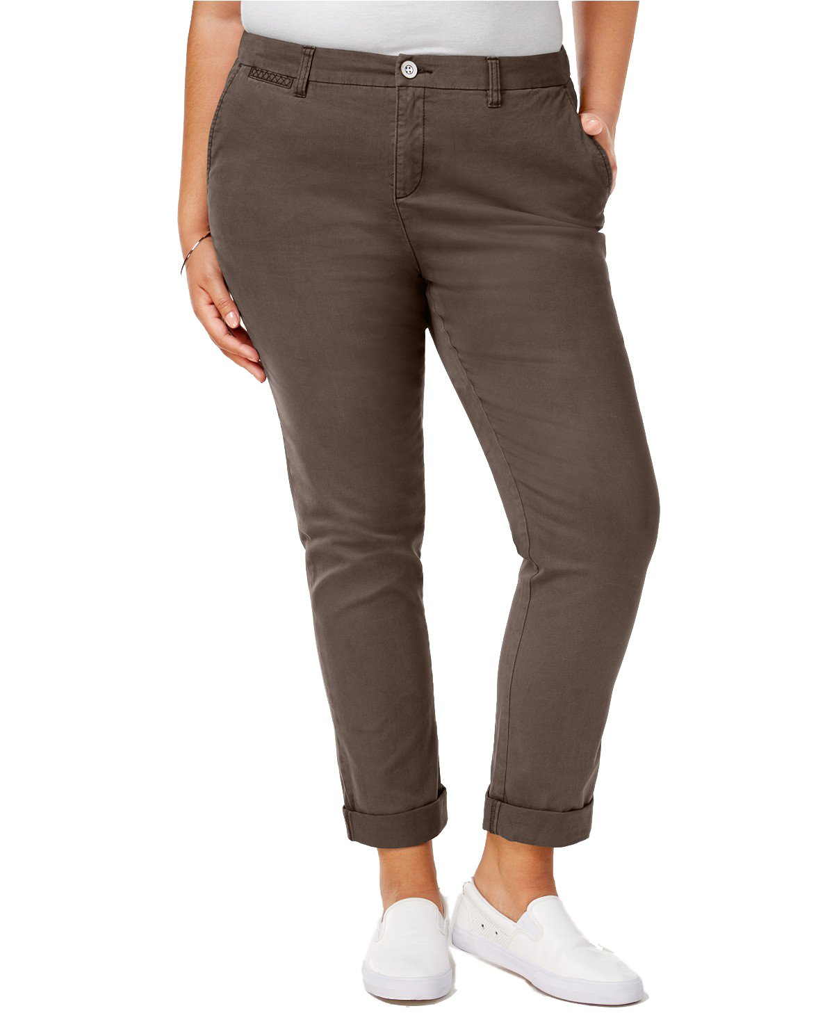 Style & Co. Womens Plus Twill Embroidered Cropped Pants Brown 16W by Style & Co.
