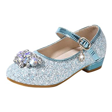 eb4852b9b2b264 Image Unavailable. Image not available for. Color: YIBLBOX Girls Mary Janes  Childrens Glitter Low Kitten Heel Party Wedding Sandals Kids Dress Shoes