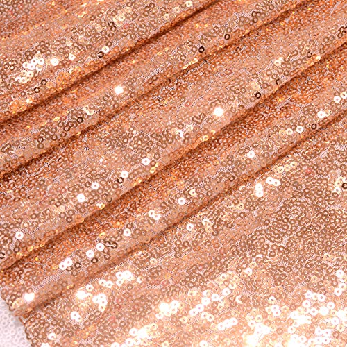ShinyBeauty 12x84-Inch Sequin Table Runner Rose Gold, Sparkly Sequin Linen as Party Decoration Perfect for Head Table or Sweetheart Table -