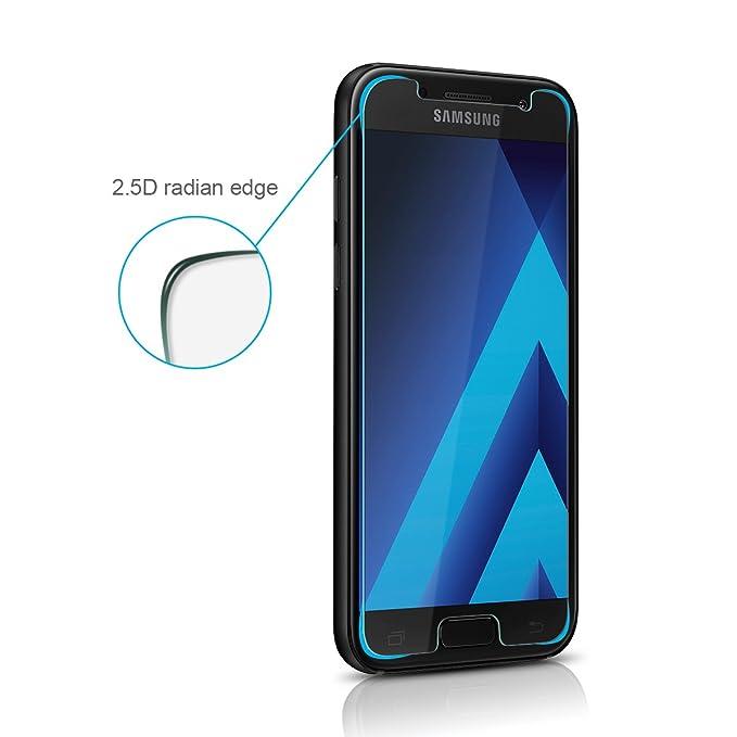 ELZO Protector Pantalla Samsung Galaxy A3 [2 Piezas], Cristal Vidrio Templado Premium 9H Dureza [3D Touch Compatible], Anti-Huella para Samsung Galaxy A3 ...