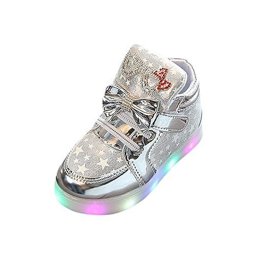 QinMM Zapatos Led Niños Niñas Deportivas De Luces Estrella Corriendo Zapatillas (21, Plata)