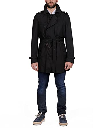BURBERRY Homme 387304900100 Noir Polyester Trench Coat  Amazon.fr ... 7a35d801751