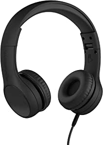 New! LilGadgets Connect+ Style Kids Premium Volume Limited Wired Headphones with SharePort and Inline Microphone (Children, Toddlers) - Black