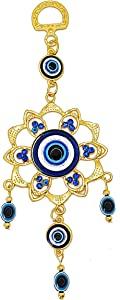 LUCKBOOSTIUM Gold Flower Evil Eye Charm with Metal Alloy Flower and Hanging Blue and White Evil Eye Decor, Classy Accessories Offer Protection and Deflect Bad Energy, Great As Car and Bag Ornament
