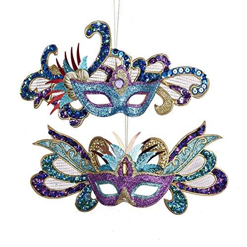 Kurt Adler Glittered/Sequined Carnival Mask Holiday Ornaments - Set of 2