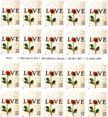 Rose Wedding Postage Stamp - Red Rose and Love Letters Pane of Twenty 34 Cent Postage Stamps Great For Weddings Scott 3497 By USPS