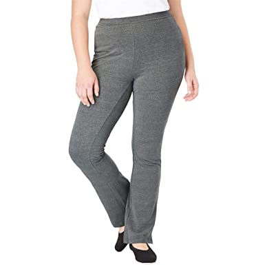 c43e1bdce5b Woman Within Plus Size Tall Stretch Cotton Bootcut Yoga Pant - Medium  Heather Grey