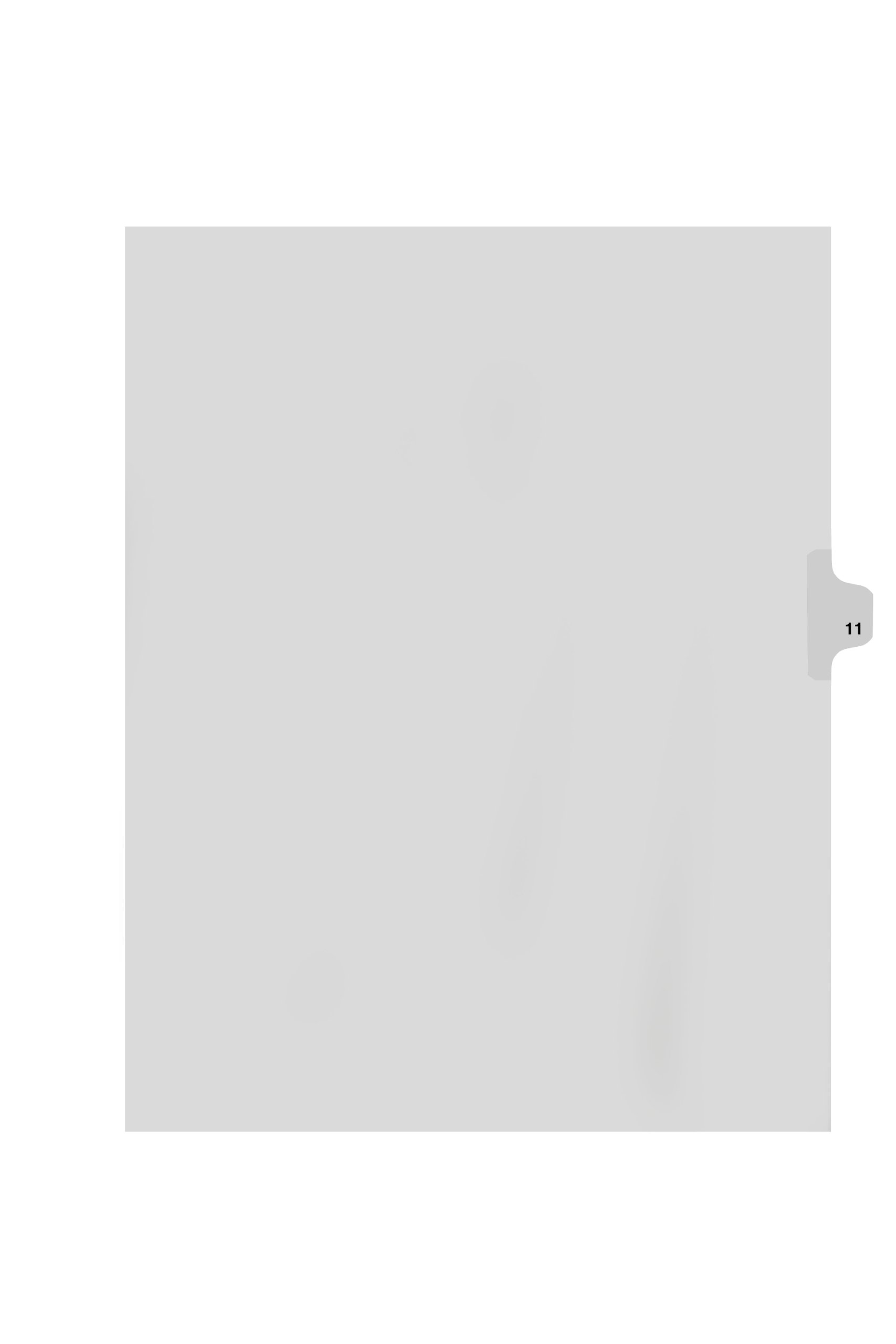 Kleer-Fax Letter Size Individual Number Index Dividers, Side Tab, 1/25th Cut, Number 11, 25 Sheets per Pack, White (81121)