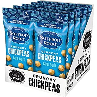 Saffron Road Organic Crunchy Chickpeas, Non-GMO, Gluten-Free, Halal, Sea Salt 1.25oz (Pack of 10)